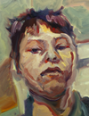 Painting of a boy's face using loose strokes