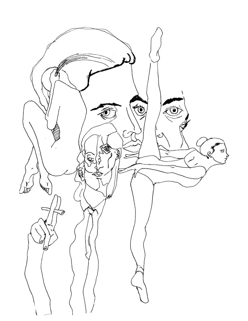 Daniel's drawing 'Ballet' is a black ink abstract drawing of ballet dancers.