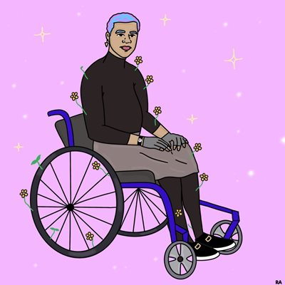Illustration of person sitting in a mobility device by artist Rana Awadallah