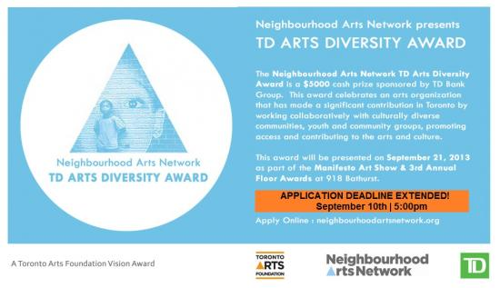 Neighbourhood Arts Network TD Arts Diversity Award Flyer